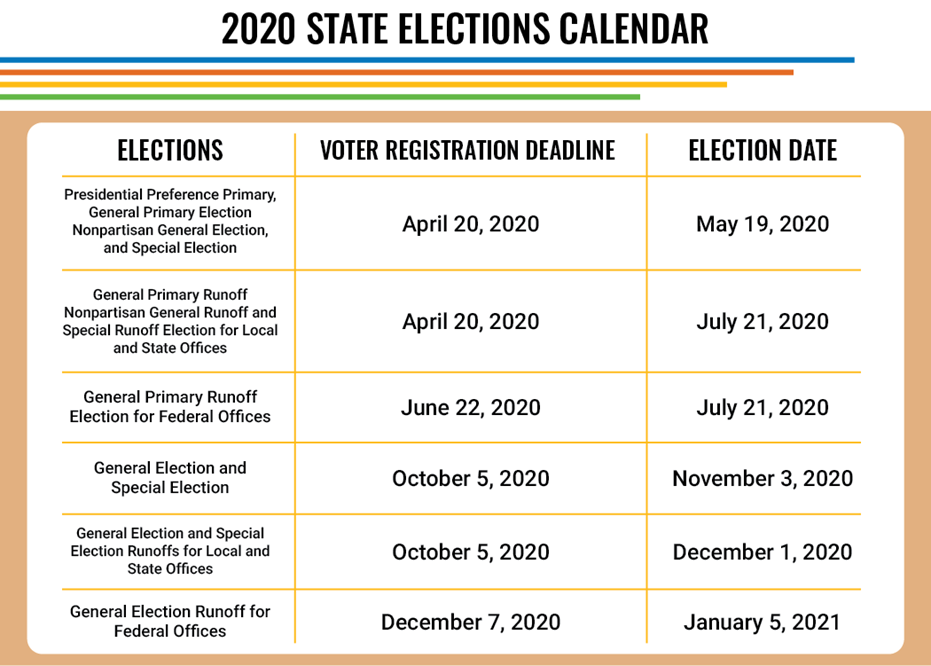 2020 State Elections Calendar