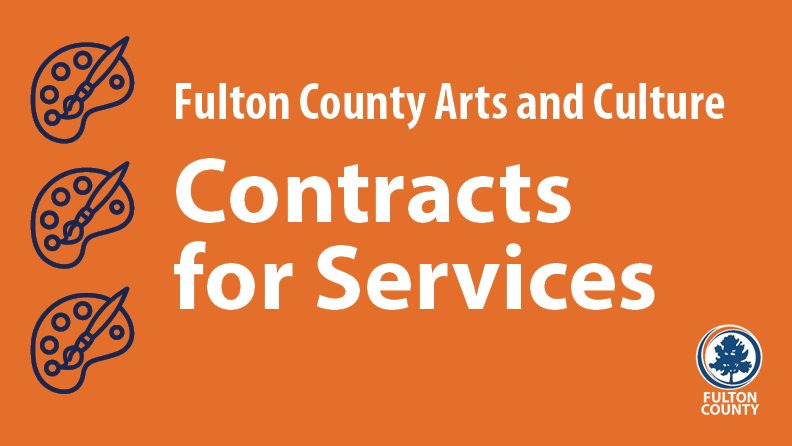 Contracts for Services graphic on orange background with art palette