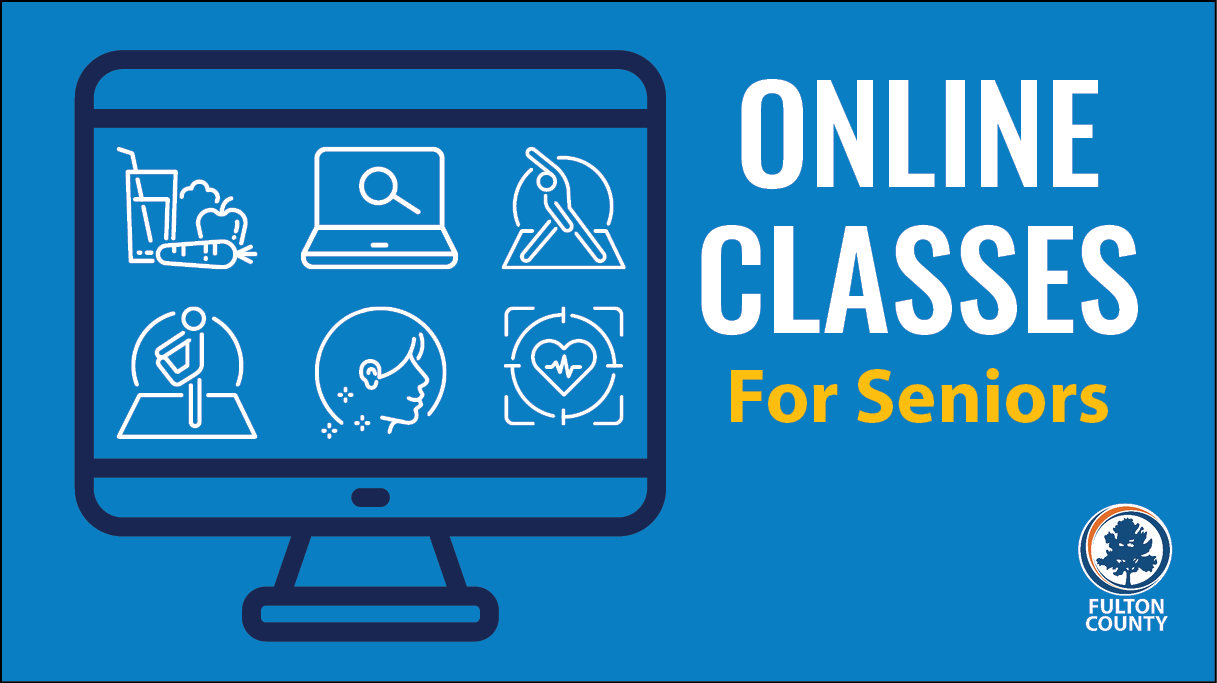 online classes graphic of monitor with icons of classes offered